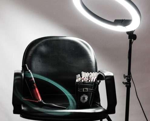 stylist chair and light - Preston's Beauty Academy